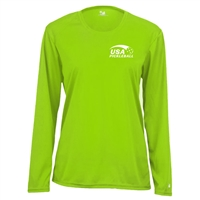 USA Pickleball logo in white ink at left chest on performance fabric long sleeve shirt. Multiple colors. Sizes S-2XL
