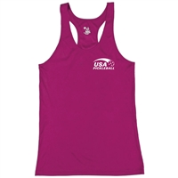 USA Pickleball logo in white ink at left chest on performance fabric racerback tank. Multiple colors. Sizes S-2XL