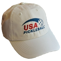 USA Pickleball embroidered logo performance cap. Frost Gray, Navy, Putty