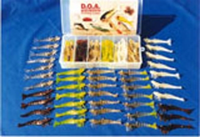 "3"" Shrimp UNRIGGED 48 Pc Kit With Tackle Box"