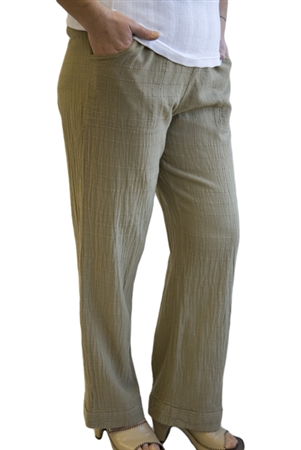 #422B Dotty Gauze Cotton Flood Pant-KHAKI