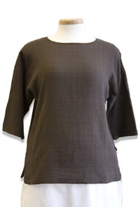 #458S Dotty Gauze 3/4 Sl. Crew Top - Brown