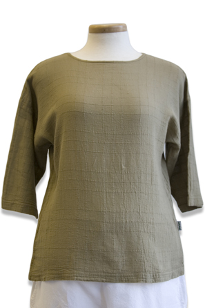 #458S Dotty Gauze 3/4 Sl. Crew Top - Khaki