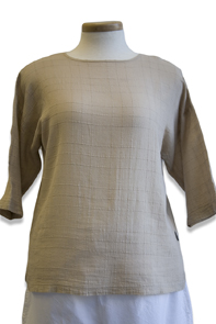 #458S Dotty Gauze 3/4 Sl. Crew Top - Lenox Tan