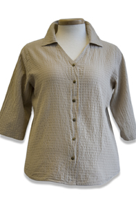#544S Mirage Cotton 3/4 Sl. Snap Shirt - Lenox Tan