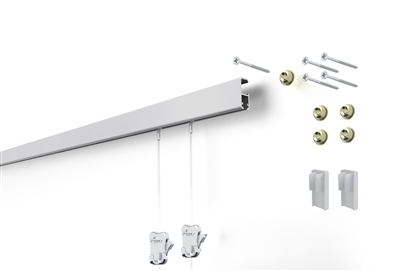 STAS Cliprail Pro Kit picture hanging system with two Zipper hooks and two perlon cobra head 59 inch cords.