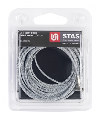 "STAS Cobra & Steel Cable 59"" ( 150 cm) - Blister 2 x"