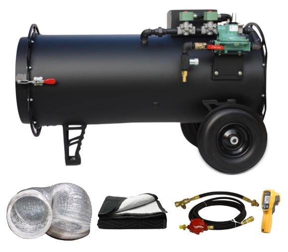 Black Widow Basic Bundle – 500,000 BTU, Direct Fired Propane Heater with Accessories
