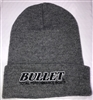 Bullet Logo Toboggan Beanie Light Heather Gray with Black Logo