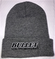 Bullet Logo Toboggan Beanie  Gray with White Logo and Red Outline