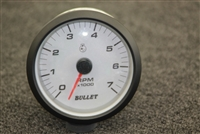 Bullet Tachometer Gauge with Bullet Logo Black or White