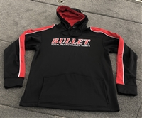 BULLET FRONT LOGO 3-TONE PERFORMANCE HOODED SWEATSHIRT OR HOODIE BLACK, RED and WHITE