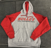 Classic Front Logo Hooded Sweatshirt Hoodie Gray with Red Sleeves