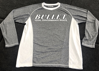 Heather Gray & White Bullet Logo Long Sleeve Fishing Jersey