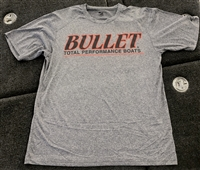 Badger Sports Heather Grey Bullet Logo Performance Short Sleeve Jersey with Black Logo and Red Outline