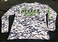 Team Bullet Digital Camo Long Sleeve Fishing Jersey With Lime and Black Logos