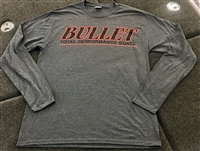Classic Bullet Logo Long Sleeve T-shirt Dark Heather Grey with Black logo and Red Outline