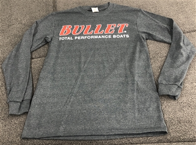 Bullet Logo Long Sleeve T-shirt Charcoal with Red Logo