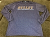 Bullet Logo Long Sleeve T-shirt Heathered Navy with Red Logo