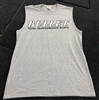 Bullet Logo Sleeveless T-Shirt Gray with White Logo and Black Outline