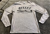 Vintage Style Bullet Logo Graphic Long Sleeve T-shirt Gray with White/Black Logo