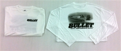BULLET LONG SLEEVE PERFORMANCE JERSEY. WHITE WITH DARK GRAY BOAT GRAPHICS