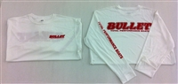 BULLET LONG SLEEVE PERFORMANCE JERSEY, WHITE WITH RED, BLUE, or BLACK GRAPHICS