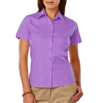 Blue Generation Ladies Easy Care Short Sleeve Stretch Poplin Blouse (BG6218S)