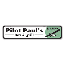 Pilot Bar & Grill Sign, Personalized Best Wings in Town Name Sign, Custom Airplane Decor, Restaurant Sign