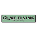 Gone Flying Sign, Personalized Airplane Sign, Custom Family Name Sign, Metal Aviation Sign, Airplane Decor