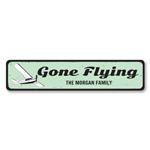 Flying Sign, Personalized Gone Flying Airplane Sign, Family Name Sign, Metal Aviation Decor, Custom Pilot Sign