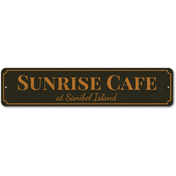 Sunrise Cafe Sign, Personalized Beach Location Restaurant Sign, Custom Beach House Sign, Beach House Decor