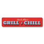 Grill & Chill Sign, Personalized Man Cave Name Sign, Custom Father's Day Gift, Metal Kitchen / Garage Sign