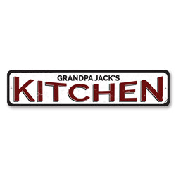 Kitchen Sign, Personalized Name Kitchen Decor, Metal Home Chef Sign, Custom Kitchen Sign, Culinary Sign