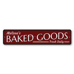 Baked Goods Sign, Personalized Fresh Daily Sign, Custom Name Kitchen Sign, Metal Baker Sign, Kitchen Decor