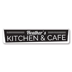 Kitchen & Cafe Sign, Personalized Name Kitchen Sign, Custom Home Chef Decor, Metal Kitchen Decor, Cafe Decor