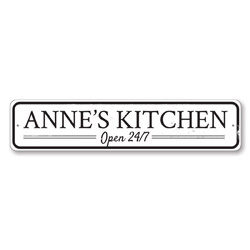 Kitchen Open 24/7 Sign, Personalized Kitchen Name Sign, Custom Kitchen Decor, Metal Chef Sign, Home Decor