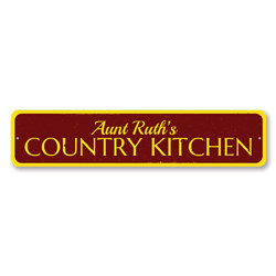 Country Kitchen Sign, Personalized Name Sign, Country Kitchen Decor, Metal Cook Sign, Custom Home Food Decor