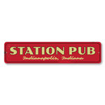 Station Pub Sign, Personalized City State Train Sign, Custom Train Station Sign, Train Station Man Cave Decor