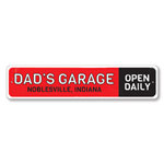 Dad's Garage Open Daily Sign, Personalized Car Shop Location City State Name Gift, Custom Metal Man Cave Decor