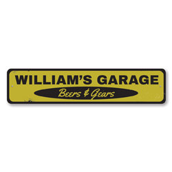 Garage Beers & Gears Sign, Personalized Mechanic Name Sign, Custom Metal Garage Man Cave Decor, Garage Sign
