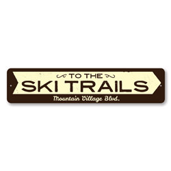 Ski Trails Arrow Sign, Personalized Skiing Location Sign, Custom Ski Lodge Cabin Decor, Metal Ski Lover Sign