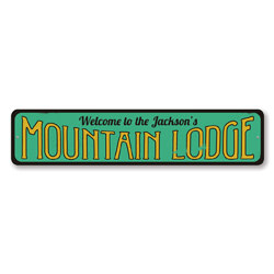 Mountain Lodge Sign, Personalized Welcome Ski Lodge Sign, Custom Family Name Sign, Metal Ski Lodge Decor