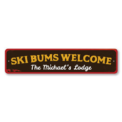 Ski Bums Welcome Sign, Personalized Ski Lodge Sign, Custom Family Name Sign, Metal Ski Lodge Decor, Ski Sign