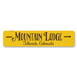 Mountain Lodge Arrow Sign, Personalized Skiing Location City State Sign, Custom Ski Sign, Ski Lodge Decor
