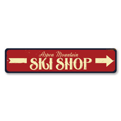 Ski Shop Sign, Personalized Mountain Ski Location Sign, Custom Skiing Arrow Sign, Metal Ski Lodge Decor