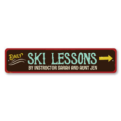 Ski Lessons Sign, Personalized Ski Instructor Name Sign, Metal Skiing Arrow Sign, Custom Ski Lodge Decor