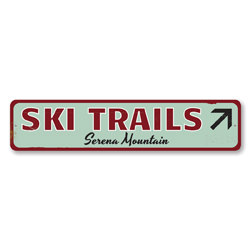 Ski Trails Sign, Personalized Skiing Mountain Sign, Ski Arrow Sign, Custom Ski Lodge Sign, Ski Lodge Decor