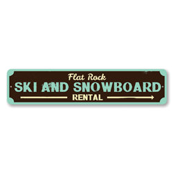 Ski & Snowboard Sign, Personalized Ski Rental Arrow Sign, Custom Skiing Location Sign, Metal Ski Lodge Decor