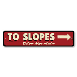 To Slopes Arrow Sign, Personalized Ski Mountain Location Name Skier Gift, Custom Directional Arrow Lodge Decor